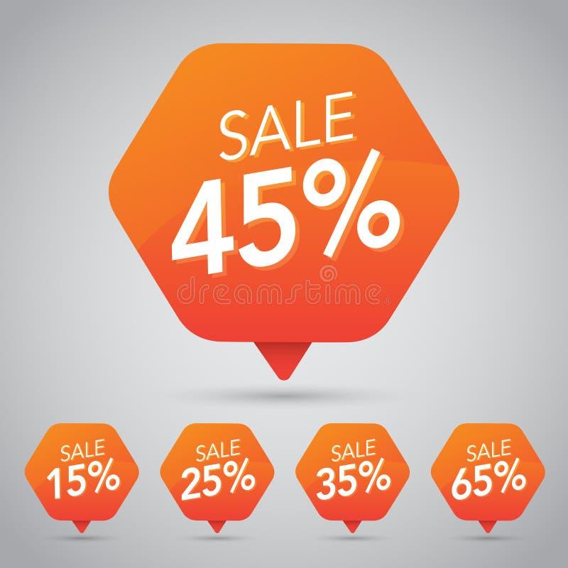 45% Verkoop, Schijf, weg op Vrolijke Oranje Markering voor Marketing Kleinhandelselementenontwerp vector illustratie