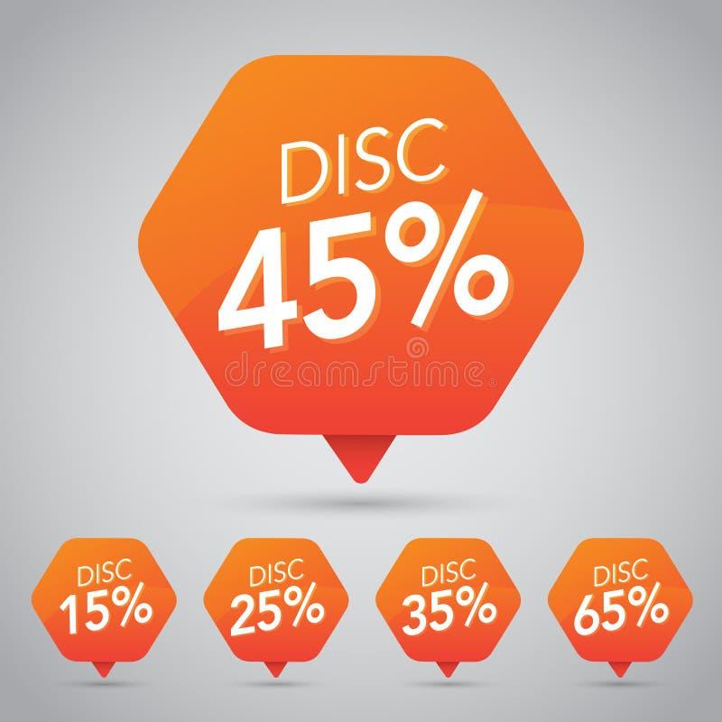 45% Verkoop, Schijf, weg op Vrolijke Oranje Markering voor Marketing Kleinhandelselementenontwerp stock illustratie