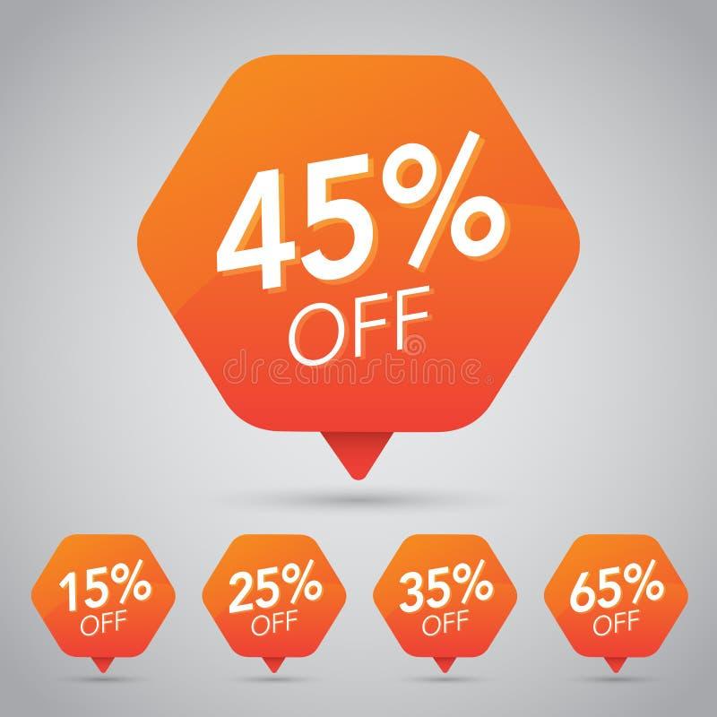 45% Verkoop, Schijf, weg op Vrolijke Oranje Markering voor Marketing Kleinhandelselementenontwerp royalty-vrije illustratie