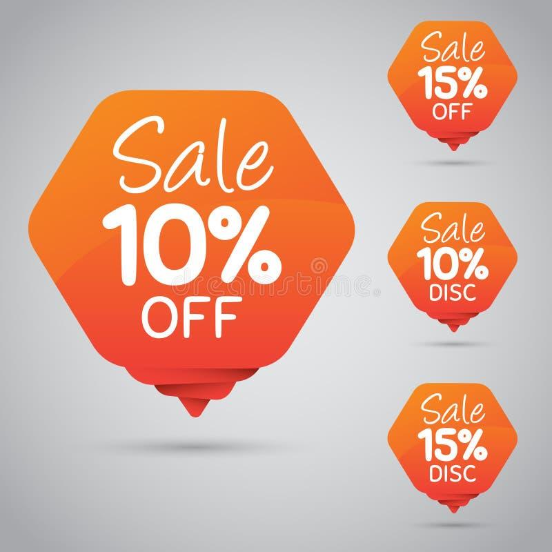 10% 15% Verkoop, Schijf, weg op Vrolijke Oranje Markering voor Marketing Kleinhandelselementenontwerp vector illustratie