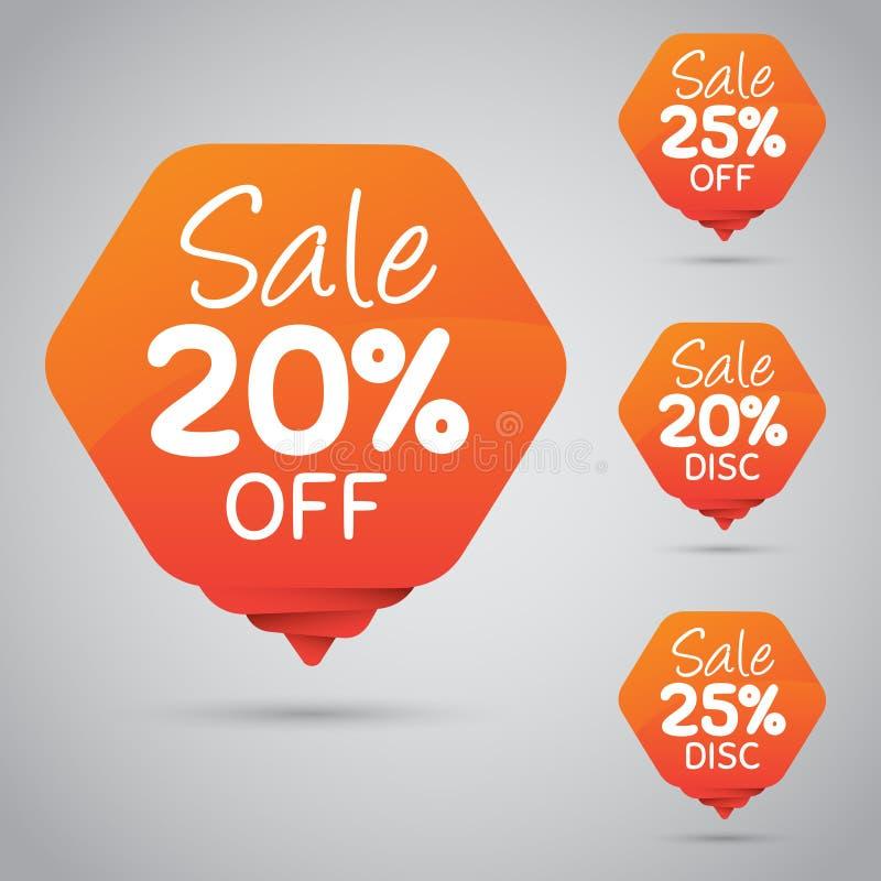 20% 25% Verkoop, Schijf, weg op Vrolijke Oranje Markering voor Marketing Kleinhandelselementenontwerp royalty-vrije illustratie