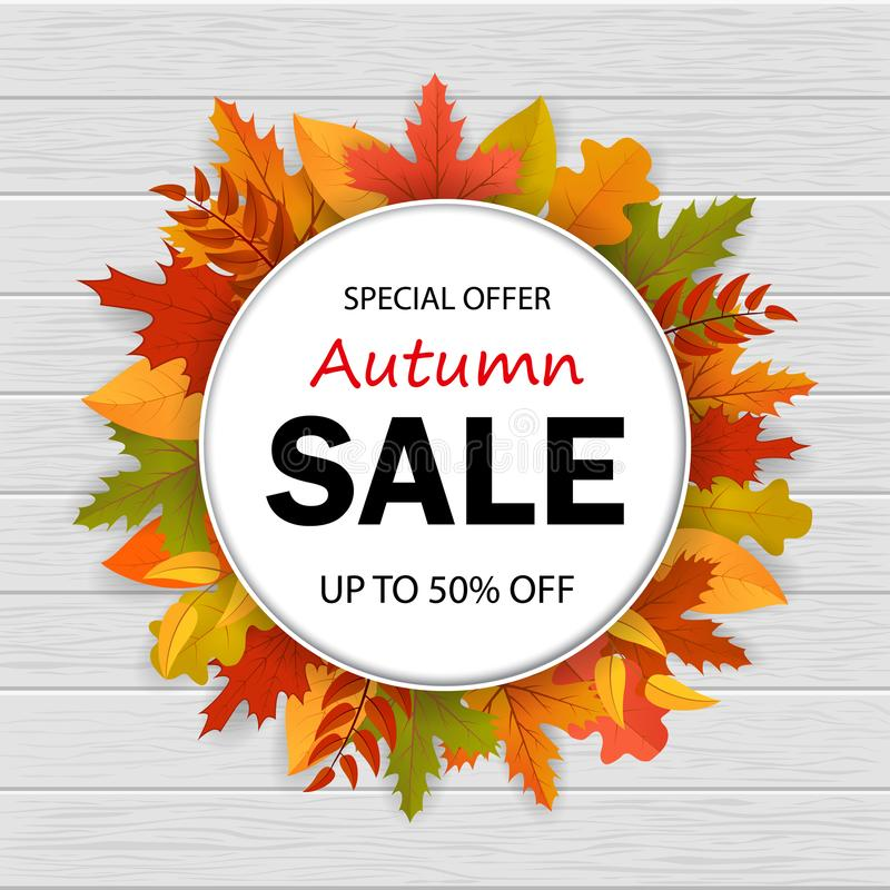 Verkoop van speciale aanbieding in de herfstseizoen 3d banner van de de herfstverkoop met bladeren op hout Vector eps10 stock illustratie