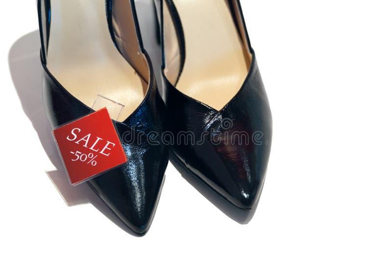 Verkoop van vrouwen` s schoenen stock afbeeldingen
