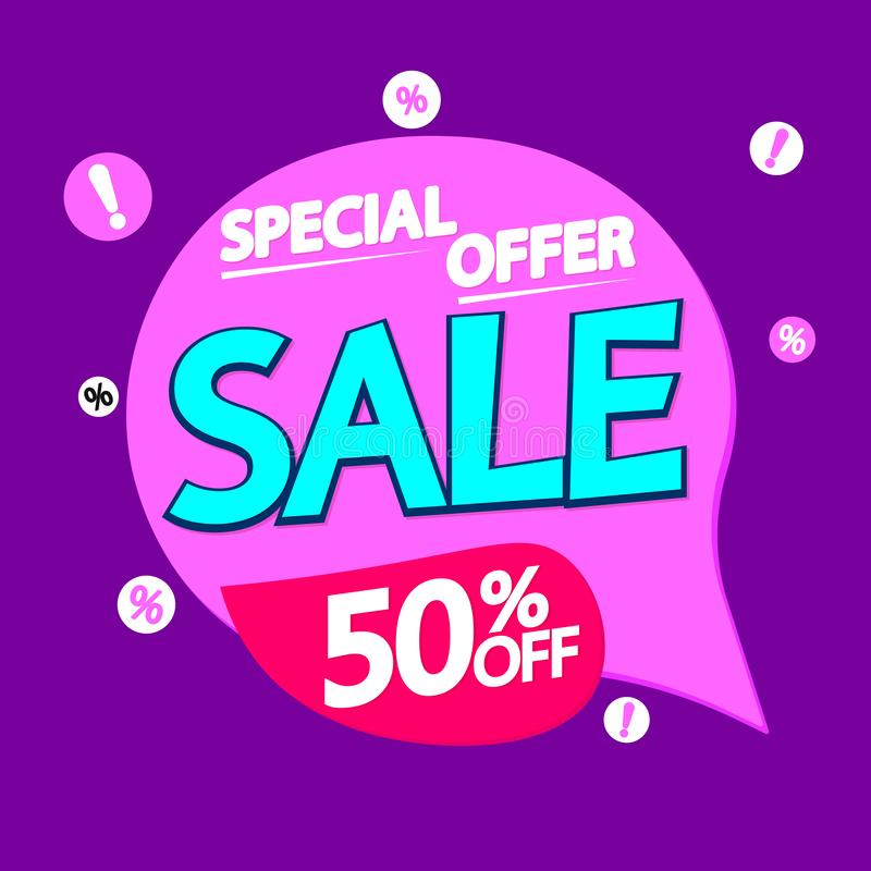 Verkoop 50% weg, de bannerontwerpsjabloon van de toespraakbel, kortingsmarkering, speciale aanbieding, app pictogram, vectorillus stock illustratie