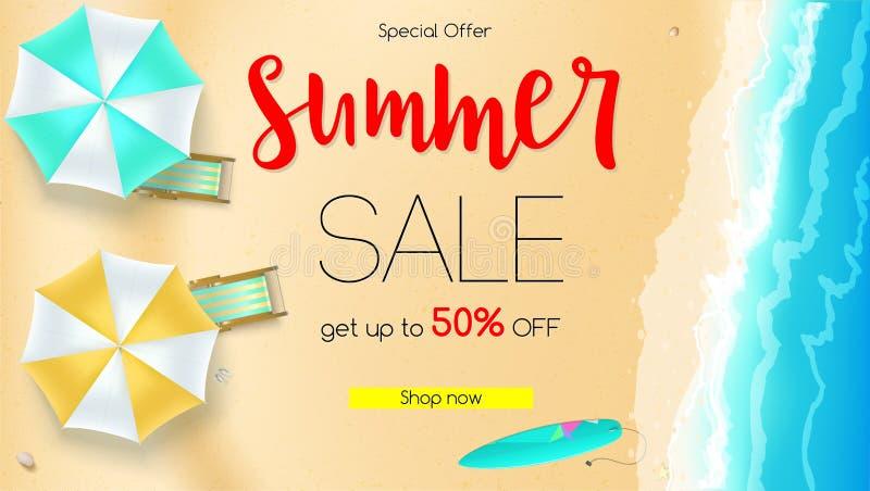 Verkoopactie, de zomeraanbieding Krijg tot vijftig percentenkorting Kust, zandig strand met deckchairs, zonparaplu's en vector illustratie