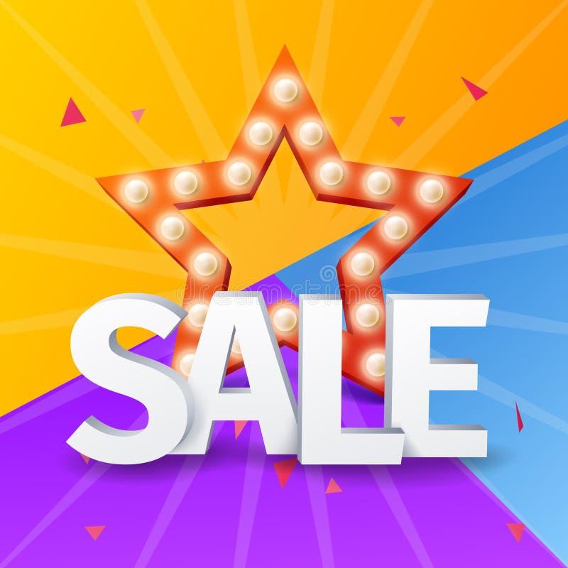 Verkoopaffiche op kleurrijke achtergrond met ster, Vectorster met bol voor het winkelen ontwerp stock illustratie