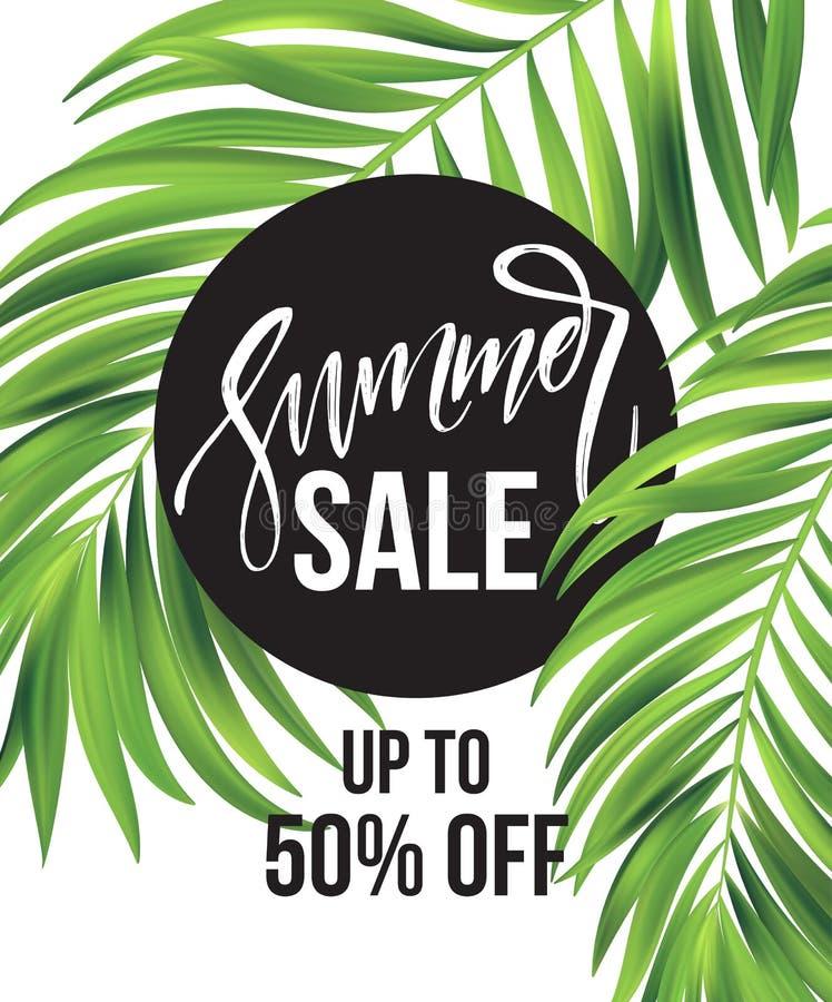 Verkoopbanner, affiche met palmbladen, wildernisblad en handschrift het van letters voorzien Bloemen tropische de zomerachtergron vector illustratie