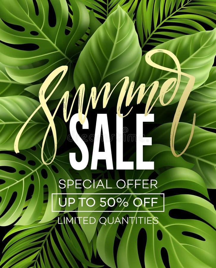 Verkoopbanner, affiche met palmbladen, wildernisblad en handschrift het van letters voorzien Bloemen tropische de zomerachtergron royalty-vrije illustratie