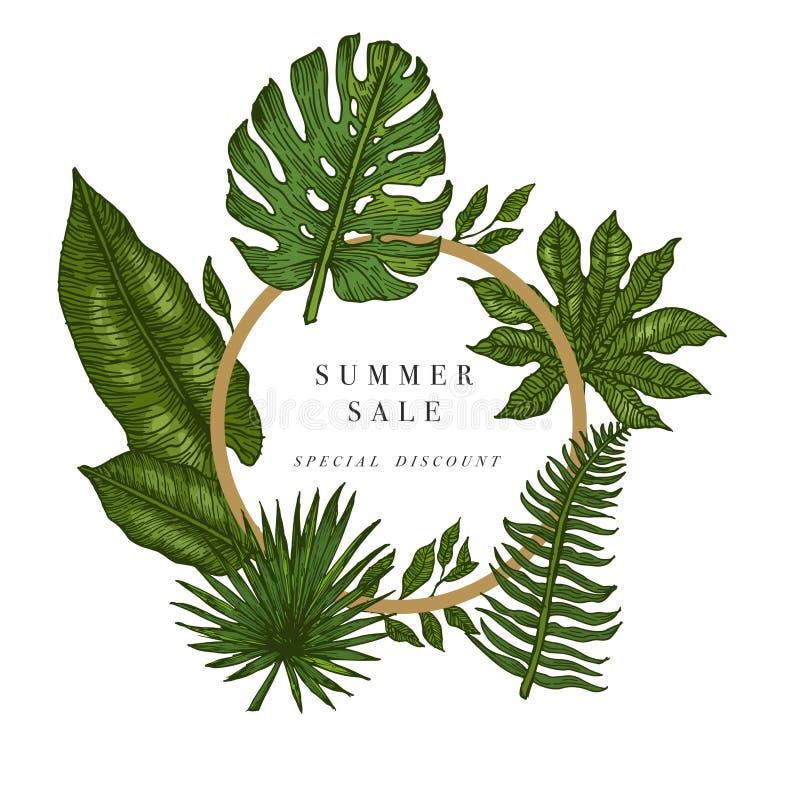 Verkoopbanner, affiche met palmbladen, wildernisblad en handschrift het van letters voorzien Bloemen tropische de zomerachtergron stock illustratie