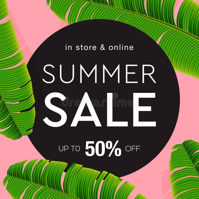 Verkoopbanner, affiche met palmbladen, wildernisblad en het van letters voorzien Bloemen tropische de zomerachtergrond, vectorill royalty-vrije illustratie