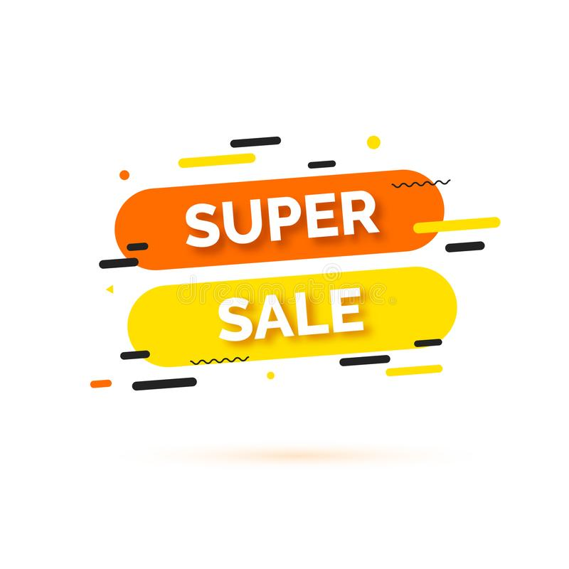 Verkoopbanner, malplaatje voor sociale media postbevordering Achtergrond met tekst ruimte, abstracte elementen, zwarte, sinaasapp vector illustratie