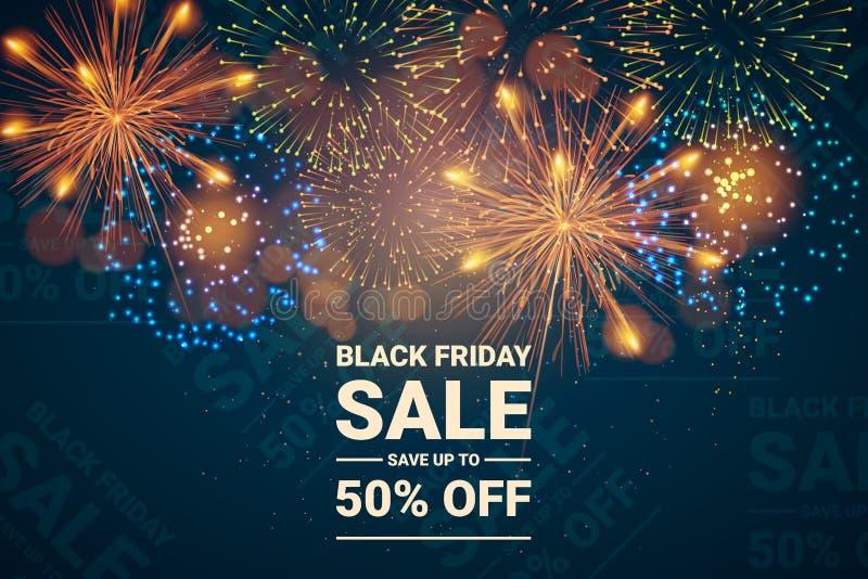 Verkoopbanner met vuurwerk De zwarte Verkoop van de Vrijdag Vector illustratie - Het vector royalty-vrije stock afbeeldingen