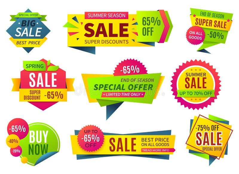 Verkoopbanners De inzameling van prijsstickers, kentekens van de linten de vierkante en ronde vorm en etiketten, kortingscoupons  royalty-vrije illustratie