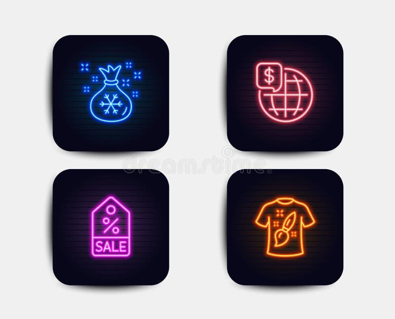 Verkoopcoupon, Wereldgeld en de pictogrammen van de Kerstmanzak Het teken van het t-shirtontwerp Kortingsmarkering, Wereldmarkten vector illustratie