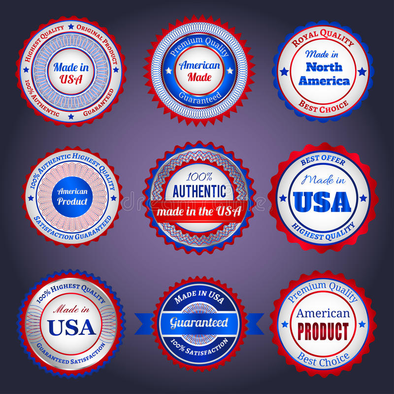 Verkoopetiketten en stickers op Gemaakt in de V.S. royalty-vrije illustratie