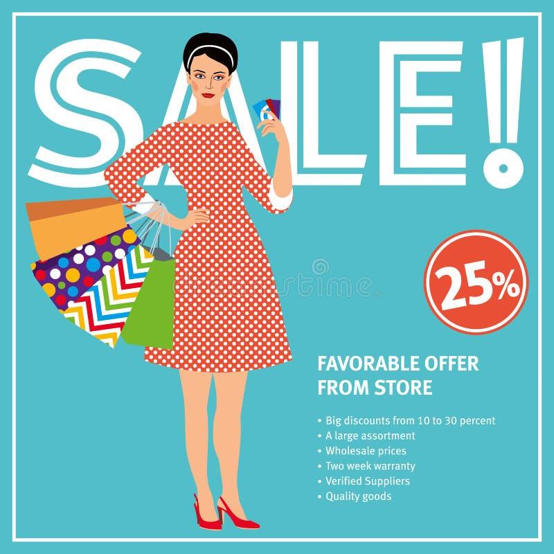 Verkooplay-out Het mooie meisje in een retro kleding houdt vele pakketten en kortingskaarten vector illustratie