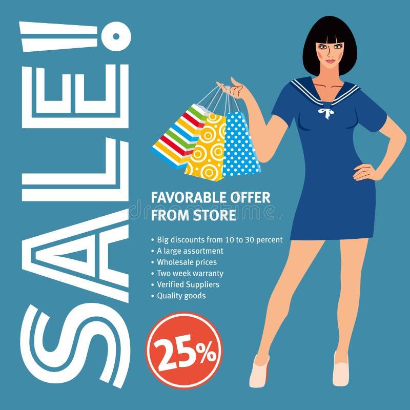 Verkooplay-out Mooi meisje in blauwe retro kledingsholding het winkelen zakken stock illustratie
