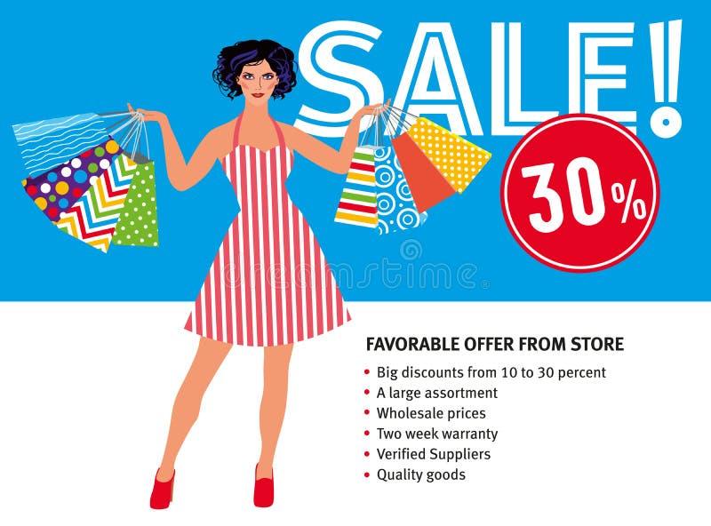 Verkooplay-out Mooi meisje die in retro kleding heel wat pakketten houden vector illustratie