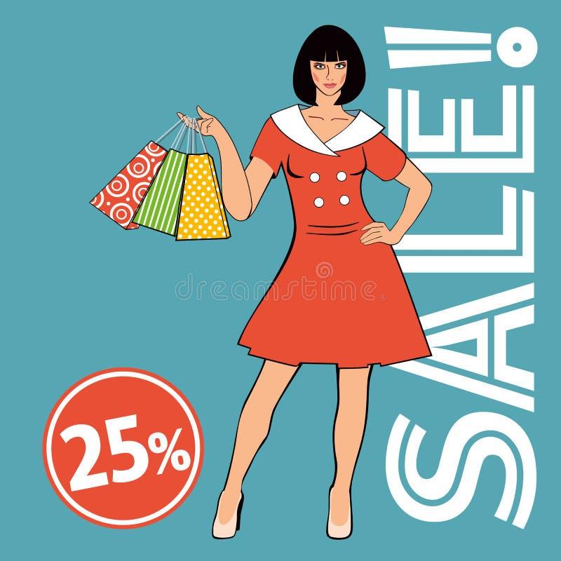 Verkooplay-out Mooi meisje in retro kledingsholding het winkelen zakken stock illustratie