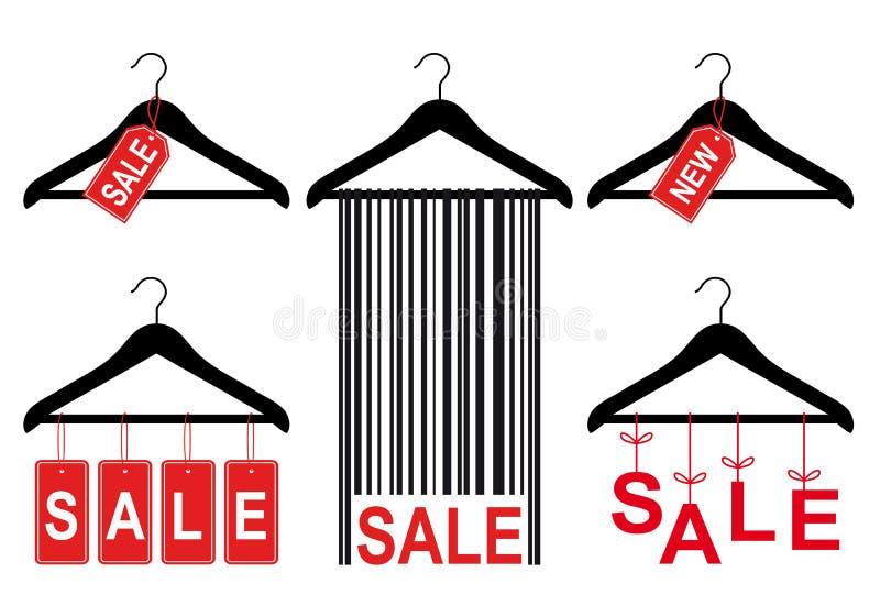 Verkoopmarkeringen op kleerhanger, vectorreeks stock illustratie