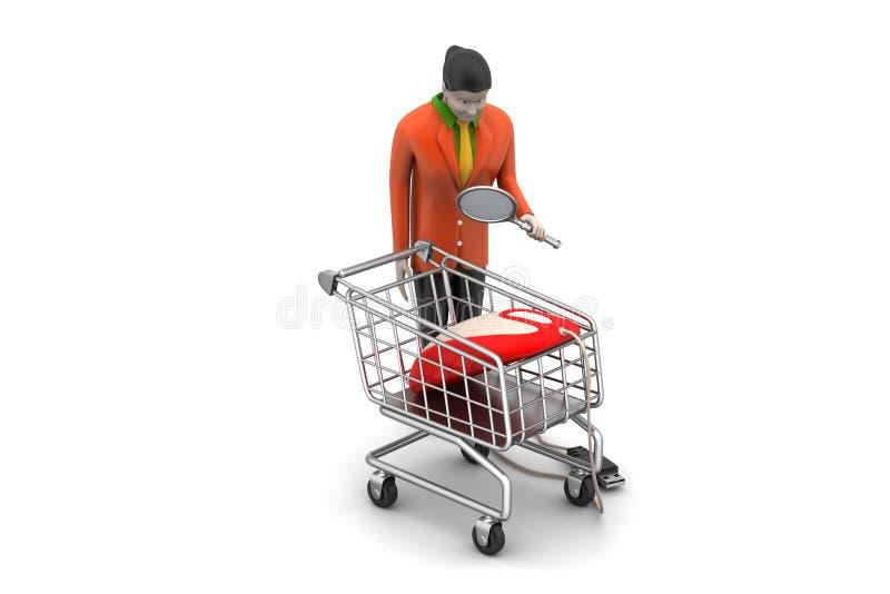 Verkoopmeisje met muis en het winkelen karretje royalty-vrije illustratie