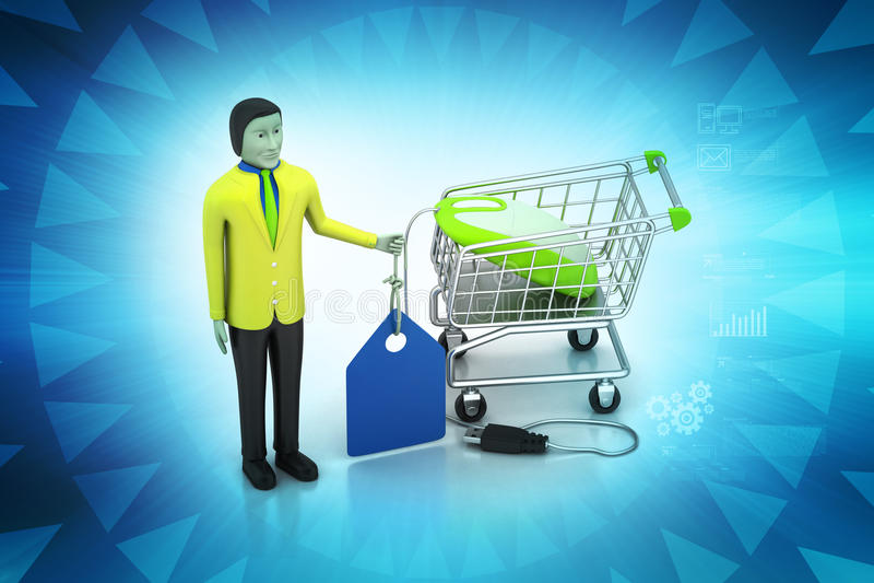 Verkoopmens met prijskaartje en het winkelen karretje stock illustratie