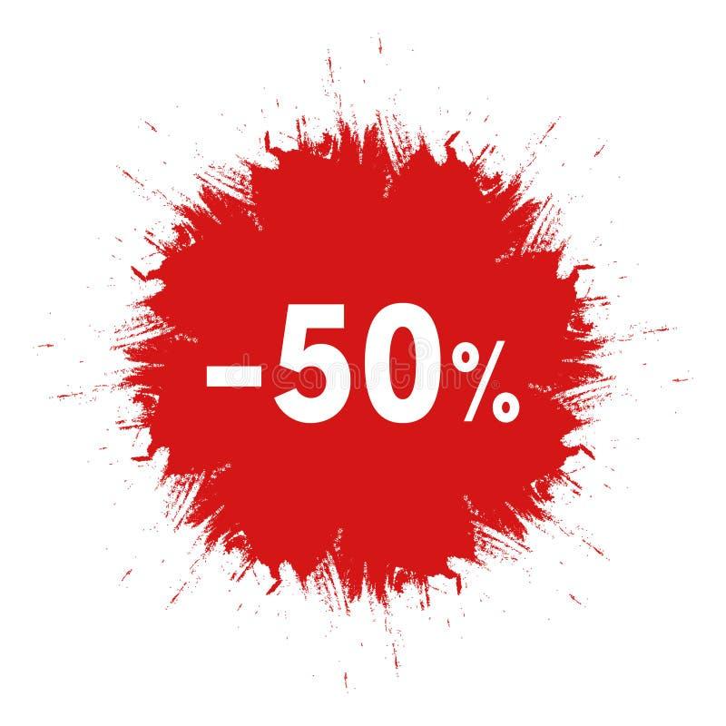 Verkoopsticker De vlekkenpictogram van de malplaatje rood inkt 50 percenten van prijsteken Het creatieve ontwerp van het kortings vector illustratie