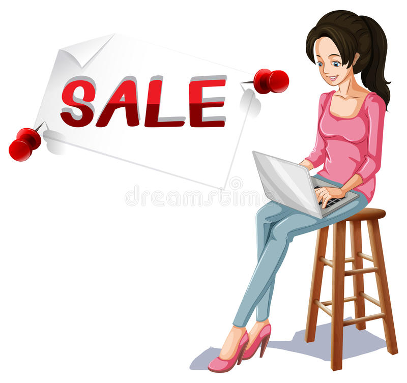 Verkoopteken en meisje het typen op computer royalty-vrije illustratie