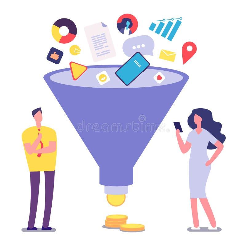 Verkooptrechter De optimalisering en de generatie van het loodbeheer De vectorillustratie van de verkoopomzetting royalty-vrije illustratie