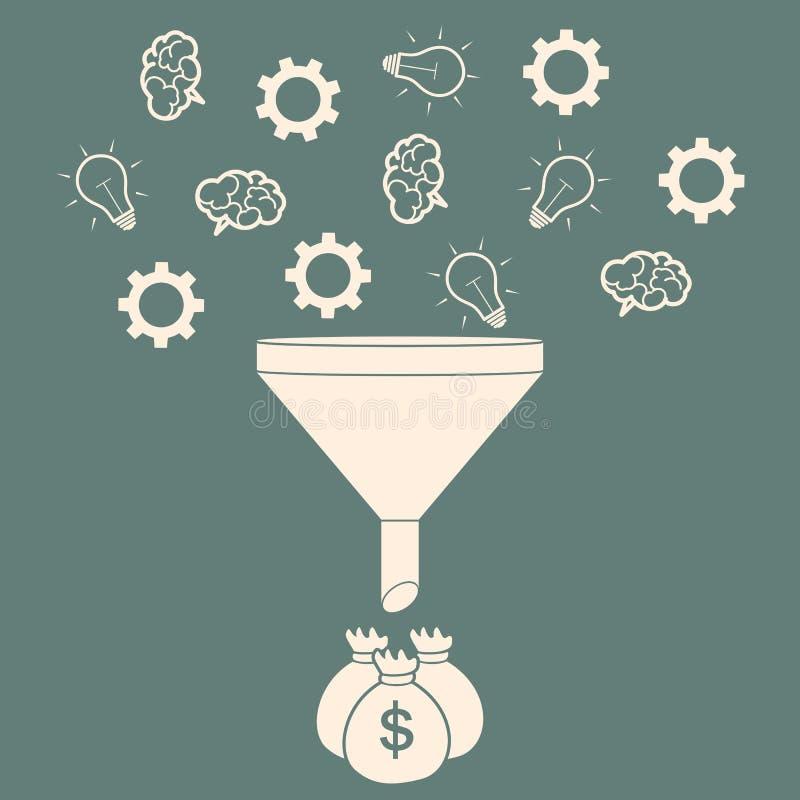 Verkooptrechter die Ideeën omzetten in Concept van de Geld het Vlakke Stijl Vec royalty-vrije illustratie