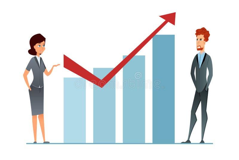 Verkoopverhoging Het inkomen groeit De bedrijfsvrouw en businceeman tegen financiële grafiek stelt bedrijfsstrategiesucces voor A vector illustratie