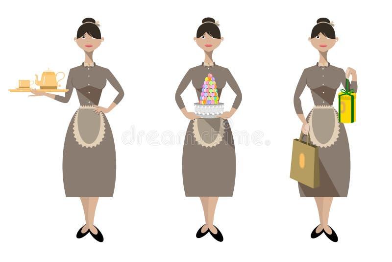 Verkoopvrouw van Patisserie vector illustratie