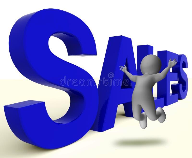 Verkoopword vertegenwoordigt Bedrijfs het Verkopen of Handel vector illustratie