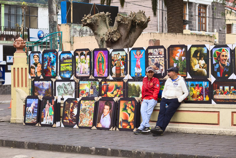 Verkopende Schilderijen in Banos, Ecuador royalty-vrije stock foto