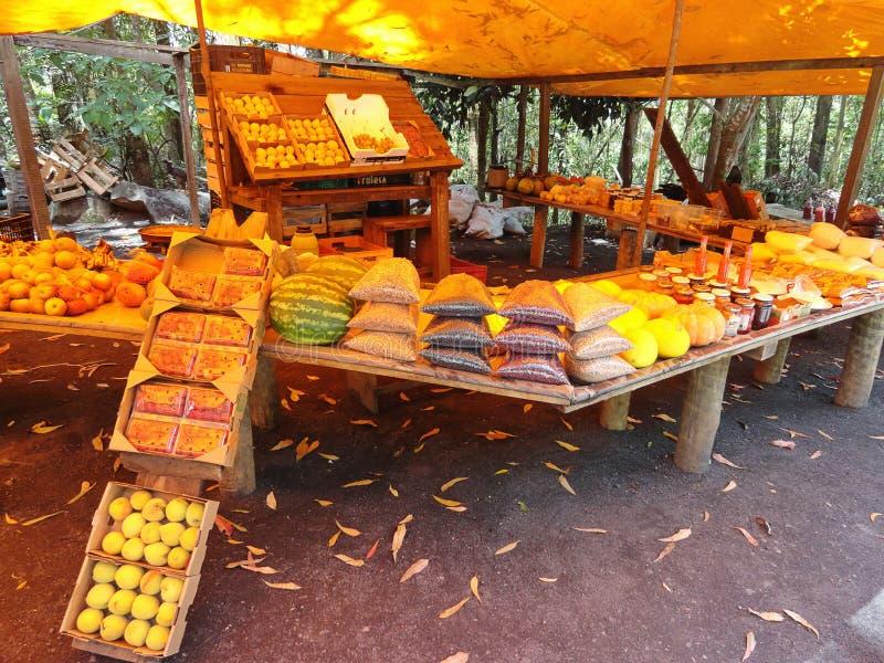 Verkopende Vruchten door de Weg in Brazilië stock foto