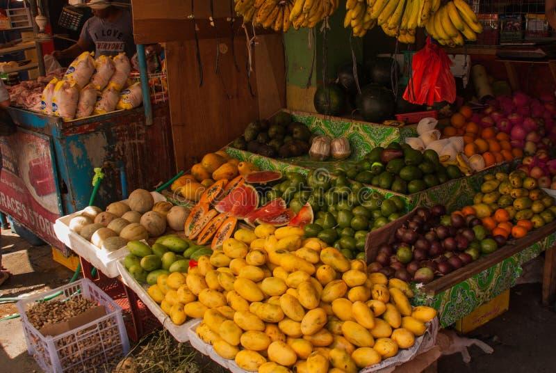 Verkopende vruchten: mango, meloen, watermeloen, appelen, kantaloep, bananen, papaja, sinaasappel Markt op de straat Manilla, Fil royalty-vrije stock foto's