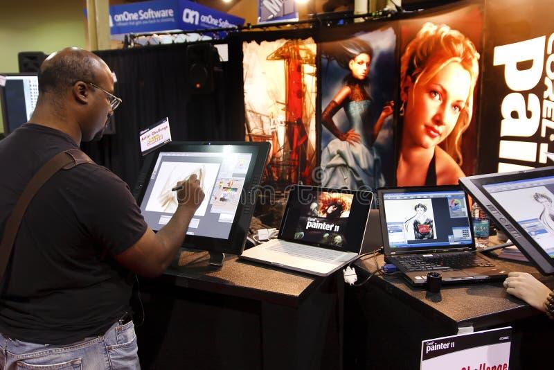 Verkoper in de Conferentie & Expo van de Wereld Photoshop stock foto's