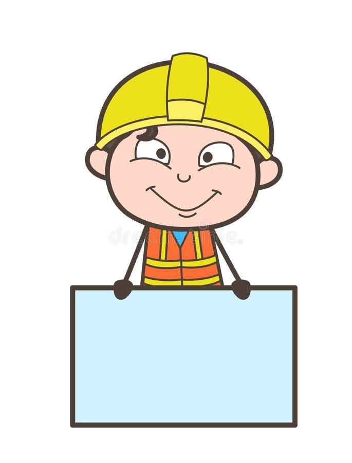 Verkoper met Advertentiebanner - Leuke Beeldverhaal Mannelijke Ingenieur Illustration stock illustratie