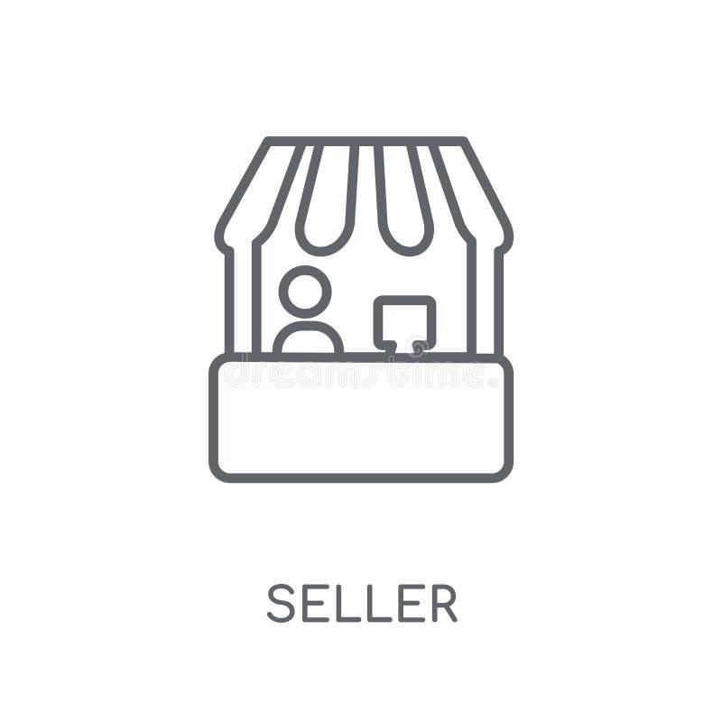 Verkopers lineair pictogram Modern het embleemconcept van de overzichtsverkoper op wit stock illustratie