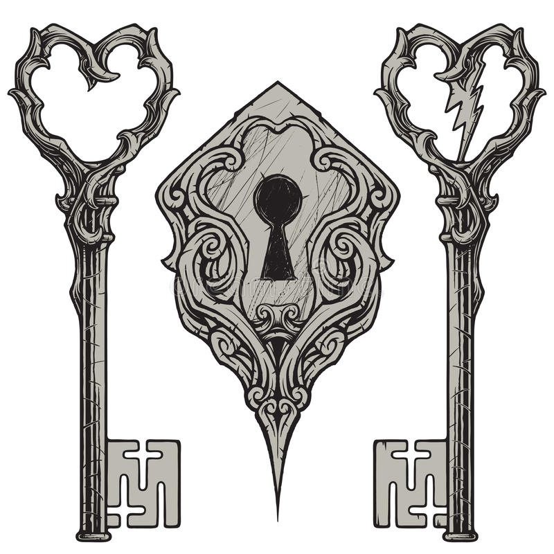 Verkratzte Schlüssel u. Schlüsselloch stock abbildung