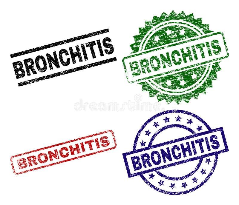 Verkratzte strukturierte BRONCHITIS Siegelstempel stock abbildung