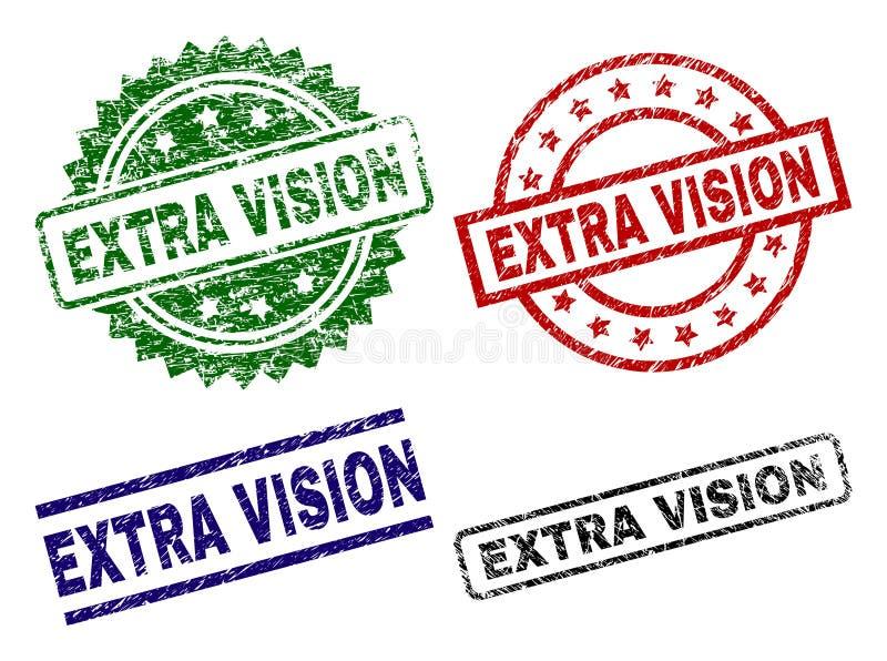Verkratzte strukturierte EXTRAvision Stempelsiegel lizenzfreie abbildung