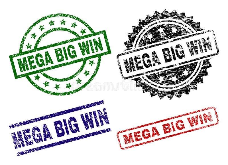 Verkratzte strukturierte MEGA- GROSSE GEWINN Siegelstempel lizenzfreie abbildung