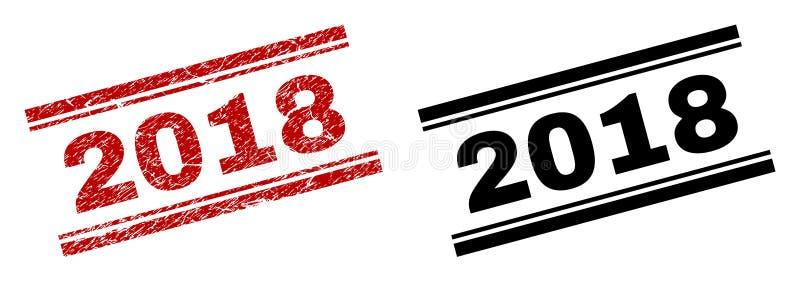 Verkratzte strukturierte und saubere 2018 Stempel-Drucke lizenzfreie abbildung