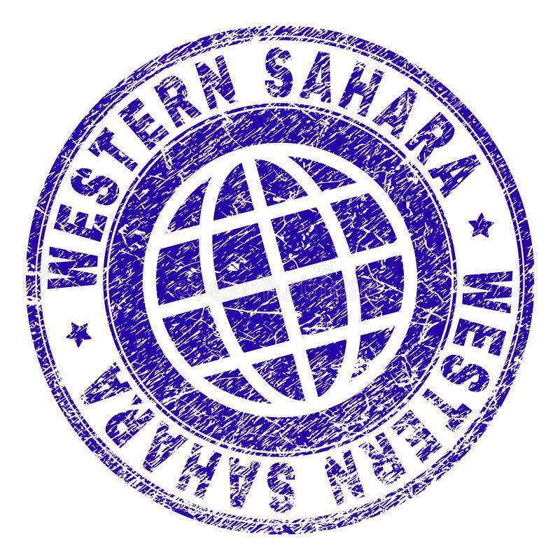 Verkratzte strukturierte WEST-SAHARA Stamp Seal vektor abbildung