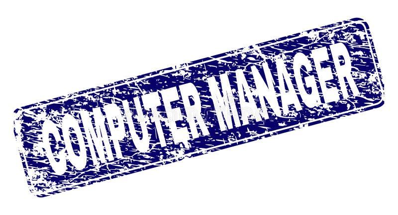 Verkratzter COMPUTER-MANAGER Framed Rounded Rectangle-Stempel lizenzfreie abbildung