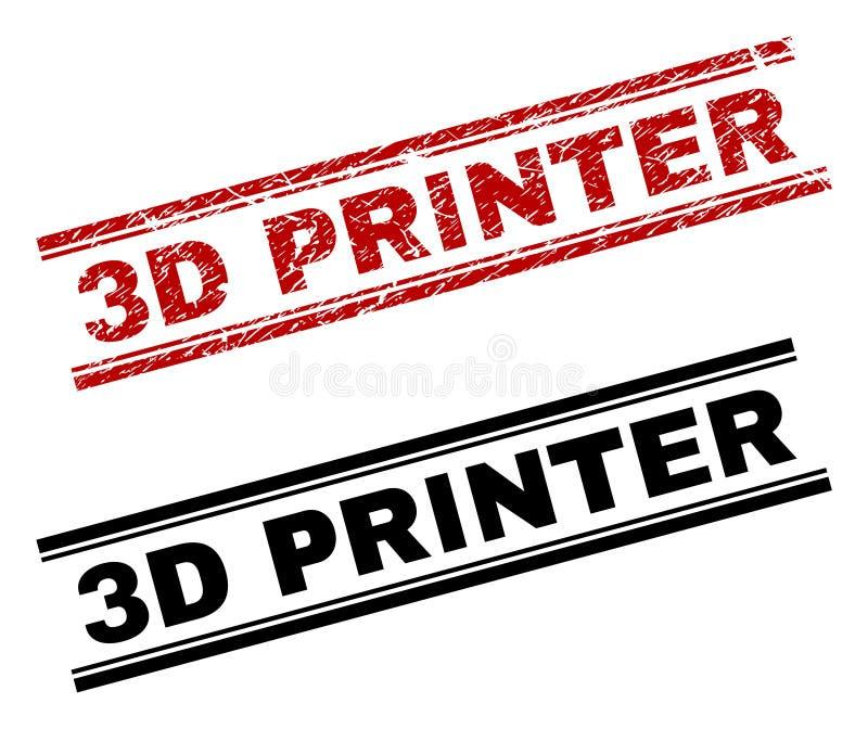 Verkratzter strukturierter und sauberer 3D DRUCKER Stamp Prints lizenzfreie abbildung