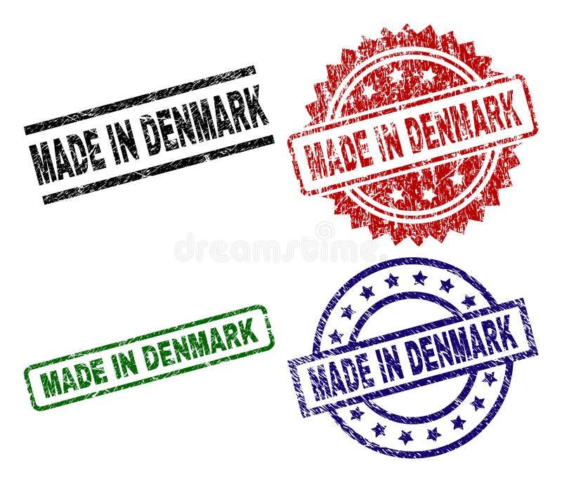Verkratztes strukturiertes GEMACHT IN DÄNEMARK-Siegelstempeln lizenzfreie abbildung