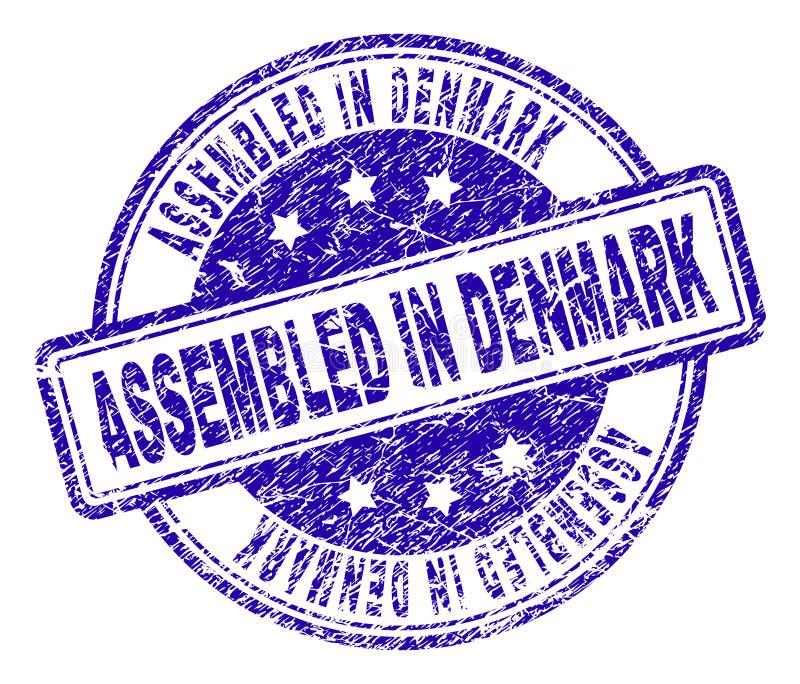 Verkratztes strukturiertes ZUSAMMENGEBAUT IN DÄNEMARK-Stempelsiegel lizenzfreie abbildung