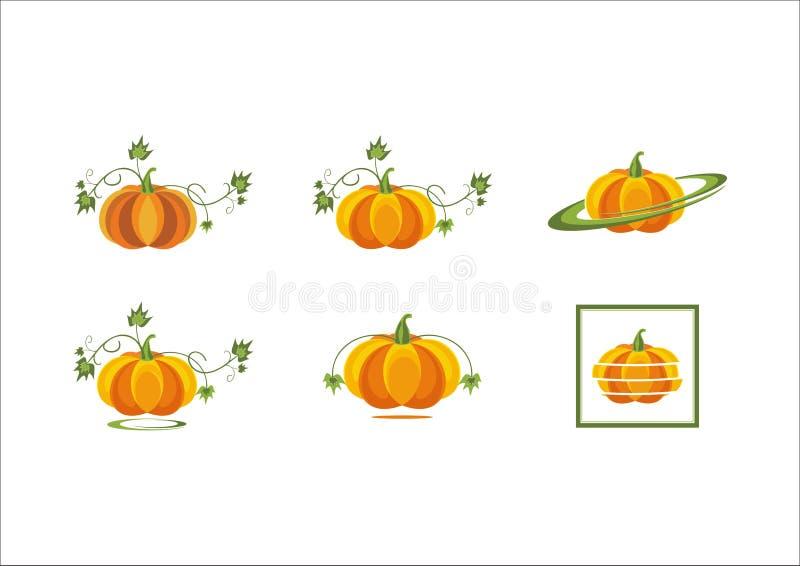 Verlässt orange Kürbisgemüse der Kürbisfrüchte neues Halloween-Erntebetriebsikonenlogo lizenzfreie abbildung
